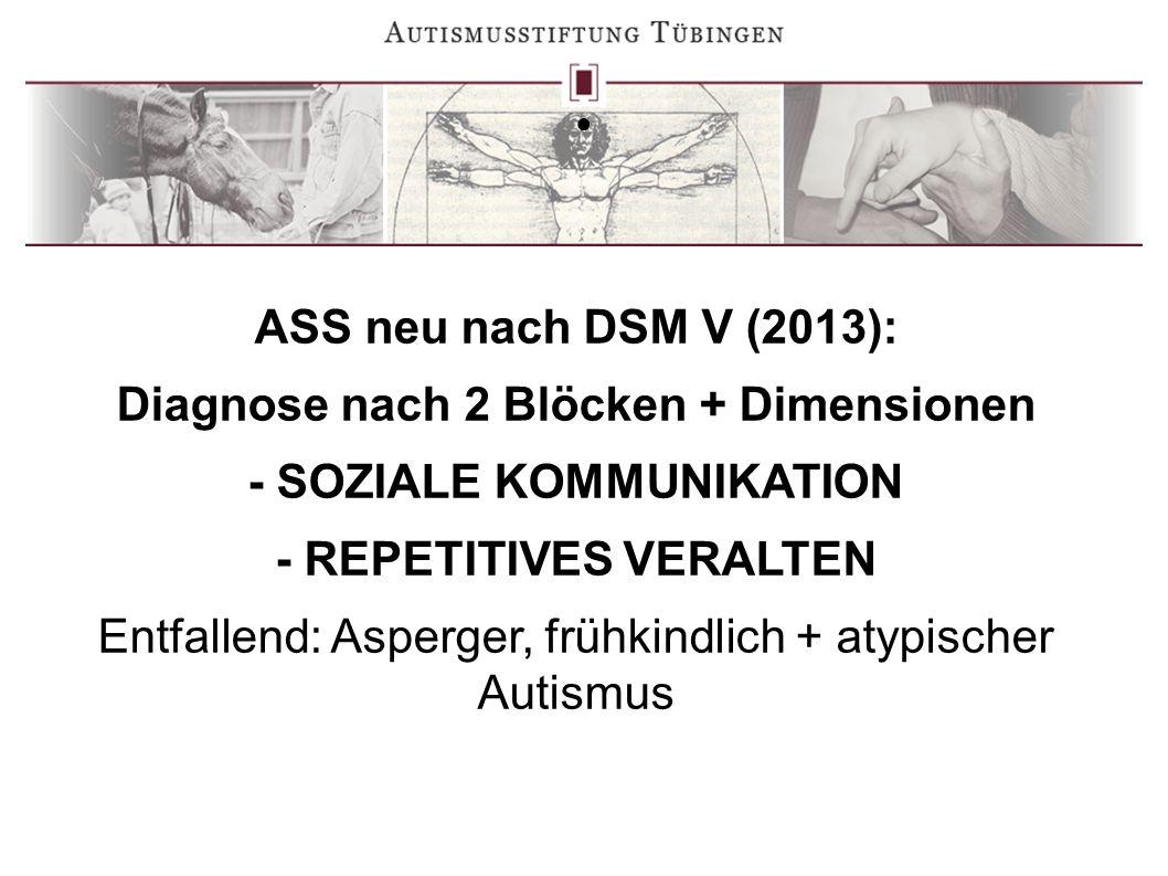 ● ASS neu nach DSM V (2013): Diagnose nach 2 Blöcken + Dimensionen - SOZIALE KOMMUNIKATION - REPETITIVES VERALTEN Entfallend: Asperger, frühkindlich +