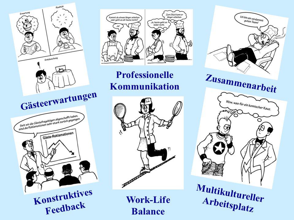 Professionelle Kommunikation Zusammenarbeit Gästeerwartungen Konstruktives Feedback Multikultureller Arbeitsplatz Work-Life Balance