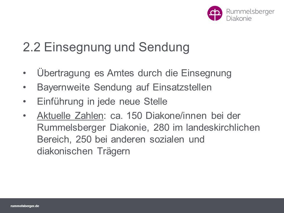 rummelsberger.de 2.2 Einsegnung und Sendung Übertragung es Amtes durch die Einsegnung Bayernweite Sendung auf Einsatzstellen Einführung in jede neue S