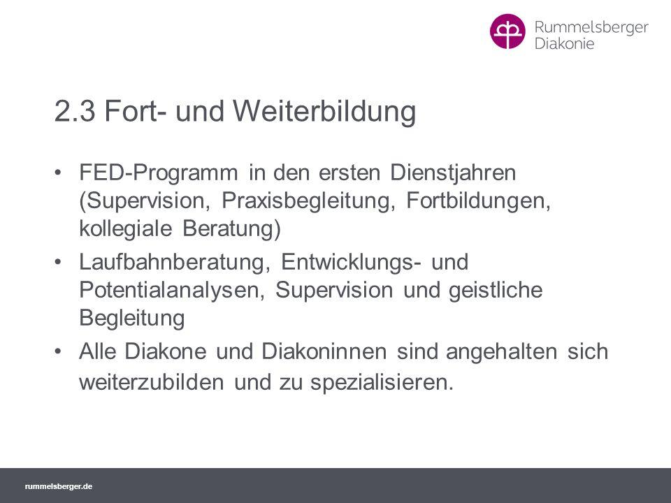 rummelsberger.de 2.3 Fort- und Weiterbildung FED-Programm in den ersten Dienstjahren (Supervision, Praxisbegleitung, Fortbildungen, kollegiale Beratun