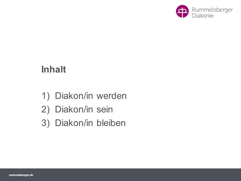 rummelsberger.de Es besteht die Möglichkeit, bei einem Infowochenende Rummelsberg, die Ausbildung zur Diakonin/ zum Diakon und die Gemeinschaften näher kennenzulernen.