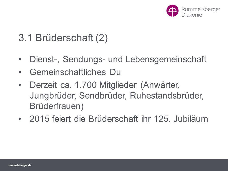 rummelsberger.de 3.1 Brüderschaft (2) Dienst-, Sendungs- und Lebensgemeinschaft Gemeinschaftliches Du Derzeit ca. 1.700 Mitglieder (Anwärter, Jungbrüd