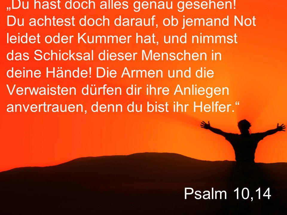 """Psalm 10,14 """"Du hast doch alles genau gesehen! Du achtest doch darauf, ob jemand Not leidet oder Kummer hat, und nimmst das Schicksal dieser Menschen"""