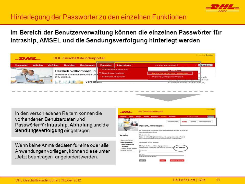 Deutsche Post | Seite DHL Geschäftskundenportal | Oktober 2012 13 Hinterlegung der Passwörter zu den einzelnen Funktionen In den verschiedenen Reitern