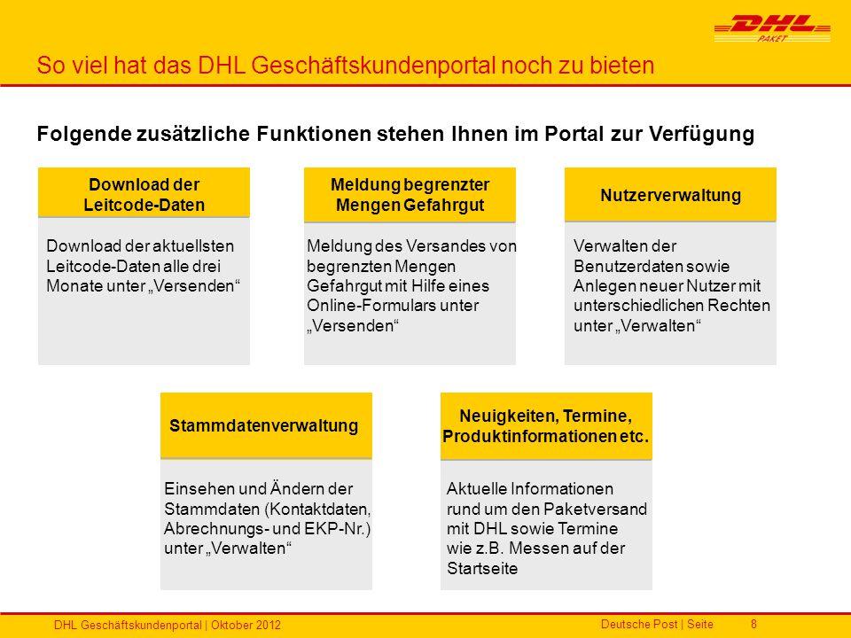 Deutsche Post | Seite DHL Geschäftskundenportal | Oktober 2012 8 Folgende zusätzliche Funktionen stehen Ihnen im Portal zur Verfügung So viel hat das