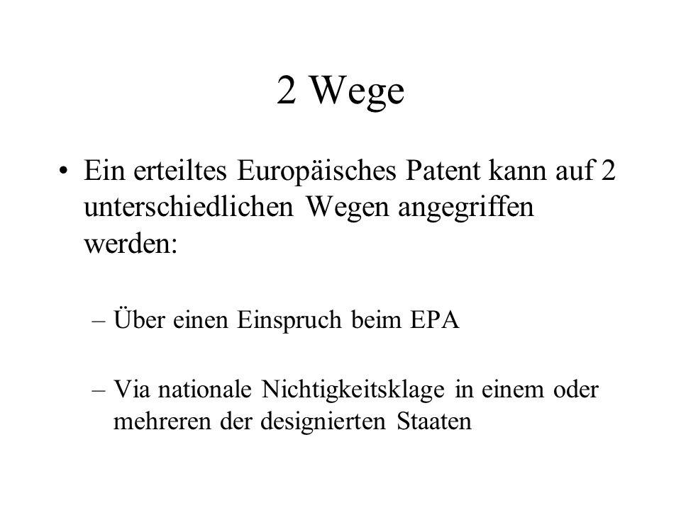 2 Wege Ein erteiltes Europäisches Patent kann auf 2 unterschiedlichen Wegen angegriffen werden: –Über einen Einspruch beim EPA –Via nationale Nichtigk