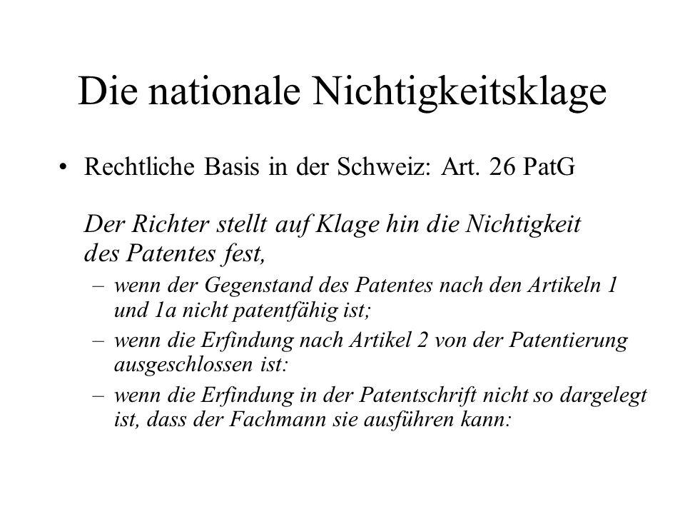 Die nationale Nichtigkeitsklage Rechtliche Basis in der Schweiz: Art. 26 PatG Der Richter stellt auf Klage hin die Nichtigkeit des Patentes fest, –wen