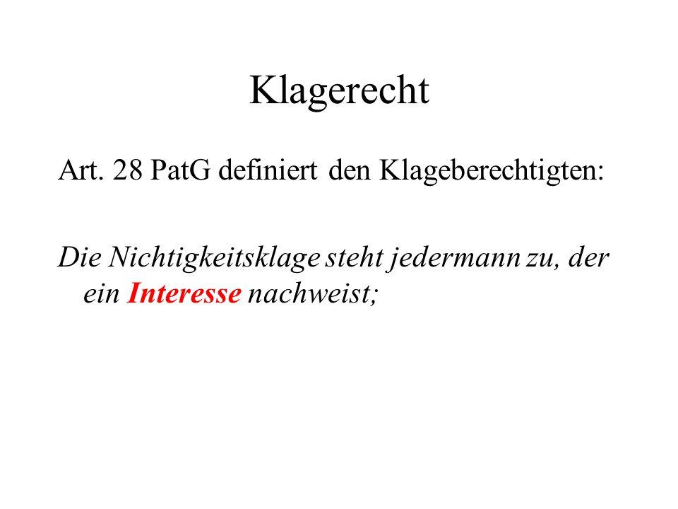 Klagerecht Art. 28 PatG definiert den Klageberechtigten: Die Nichtigkeitsklage steht jedermann zu, der ein Interesse nachweist;