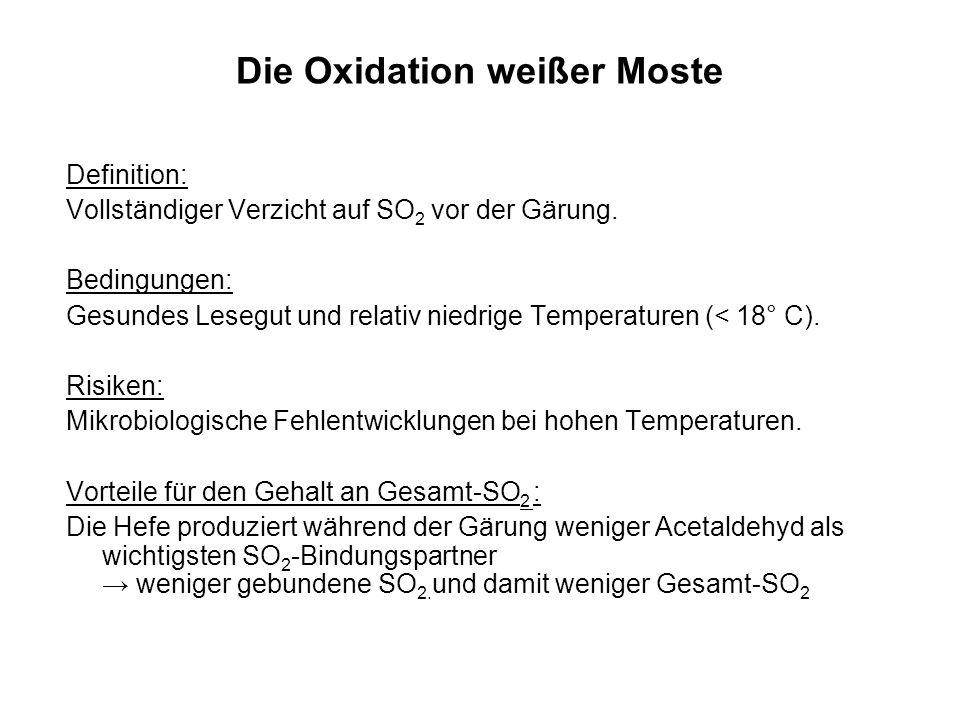 Die Oxidation weißer Moste Definition: Vollständiger Verzicht auf SO 2 vor der Gärung. Bedingungen: Gesundes Lesegut und relativ niedrige Temperaturen