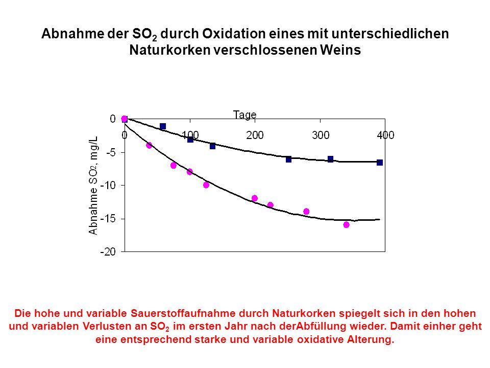 Abnahme der SO 2 durch Oxidation eines mit unterschiedlichen Naturkorken verschlossenen Weins Die hohe und variable Sauerstoffaufnahme durch Naturkork