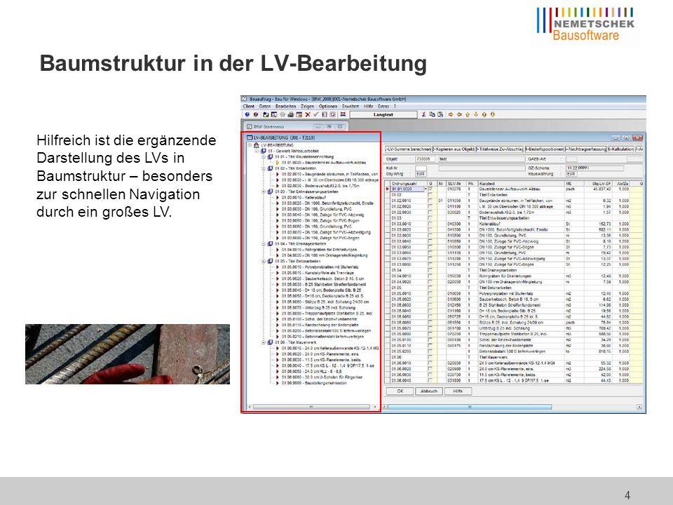 4 Baumstruktur in der LV-Bearbeitung Hilfreich ist die ergänzende Darstellung des LVs in Baumstruktur – besonders zur schnellen Navigation durch ein g