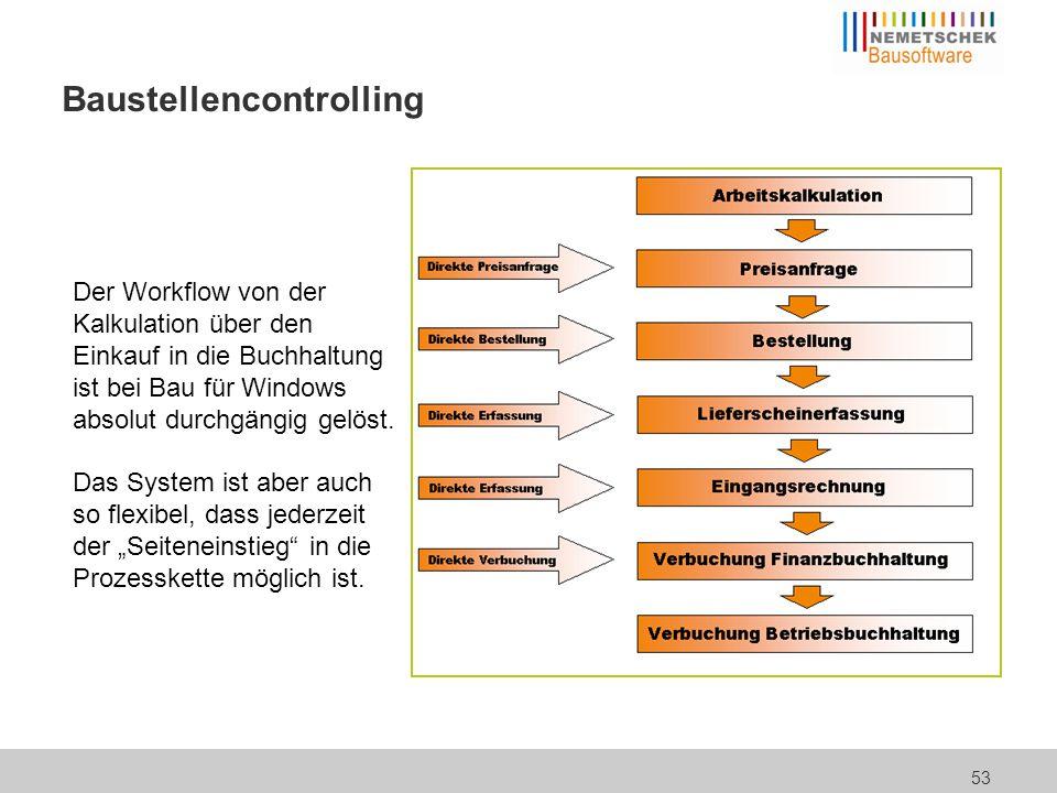 53 Baustellencontrolling Der Workflow von der Kalkulation über den Einkauf in die Buchhaltung ist bei Bau für Windows absolut durchgängig gelöst. Das