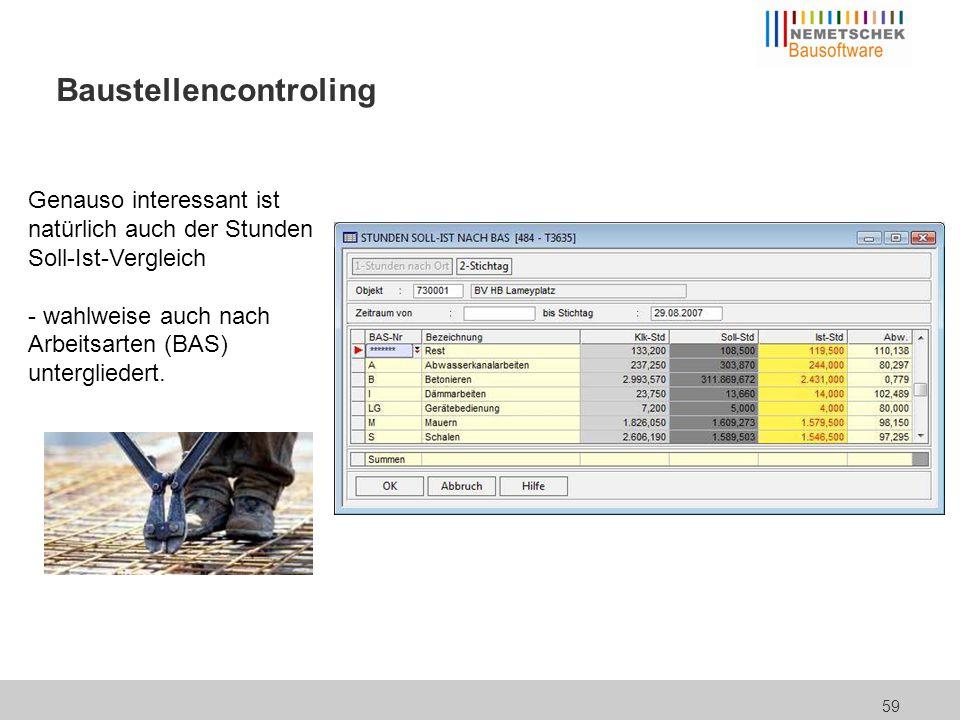 59 Baustellencontroling Genauso interessant ist natürlich auch der Stunden Soll-Ist-Vergleich - wahlweise auch nach Arbeitsarten (BAS) untergliedert.