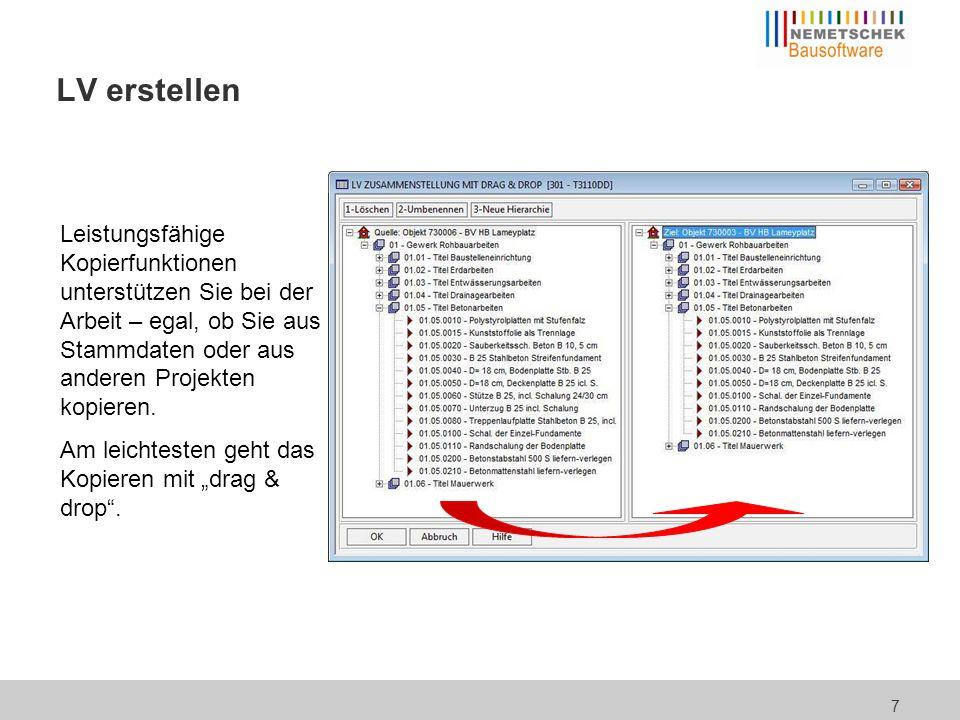 8 LV erstellen In der Tabelle können die Daten durch einen Klick im Spaltenkopf sortiert werden, aber auch Filtern ist möglich, z.B.