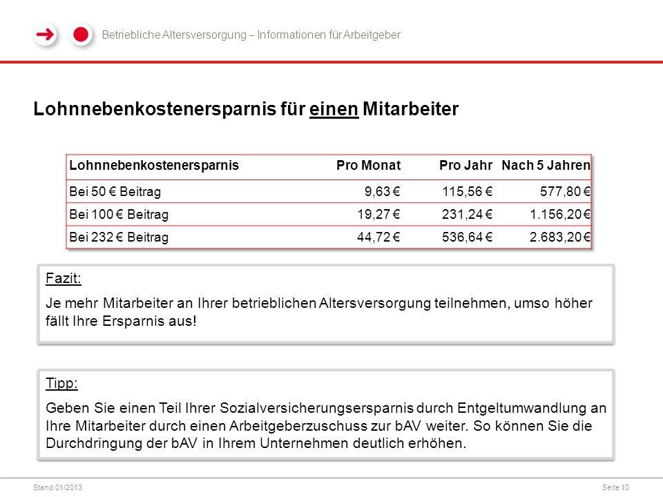 Stand 01/2013Seite 10 Lohnnebenkostenersparnis für einen Mitarbeiter Betriebliche Altersversorgung ‒ Informationen für Arbeitgeber Fazit: Je mehr Mita