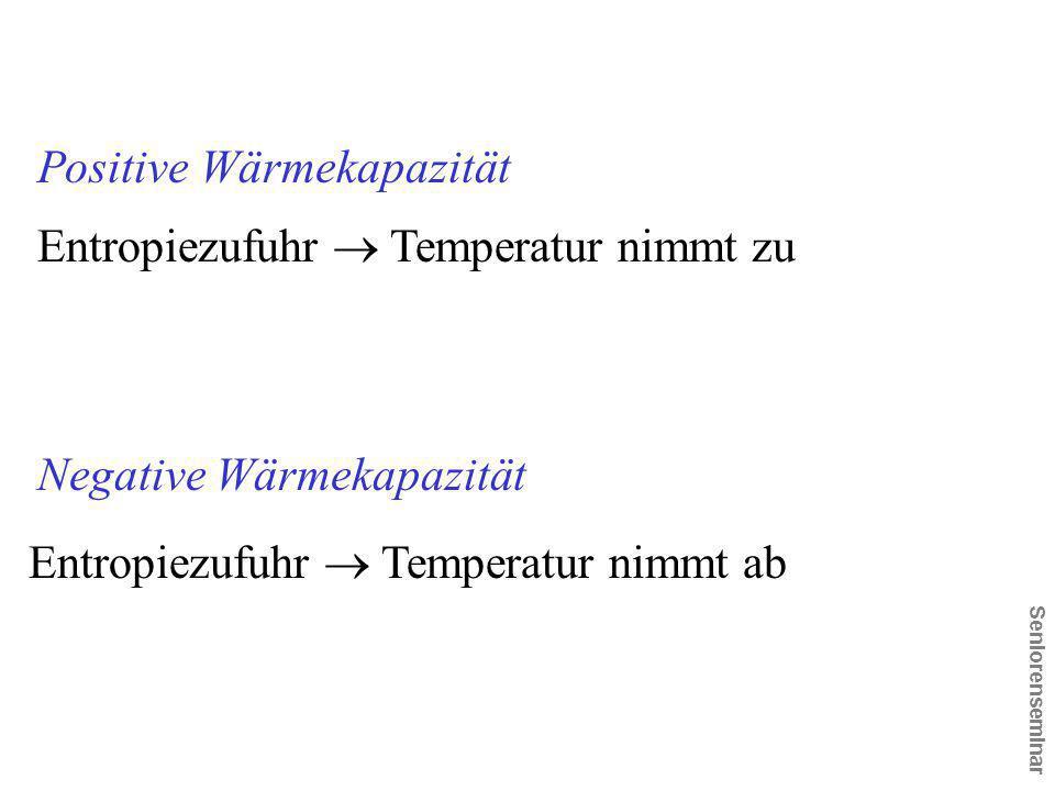 Seniorenseminar Negative Wärmekapazität Positive Wärmekapazität Entropiezufuhr  Temperatur nimmt zu Entropiezufuhr  Temperatur nimmt ab