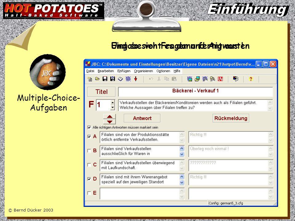 © Bernd Dücker 2003 Multiple-Choice- Aufgaben Quiz mit Fragen und Antworten Wort- Puzzles Kreuzworträtsel Lückentexte Zuordnungs- Übungen