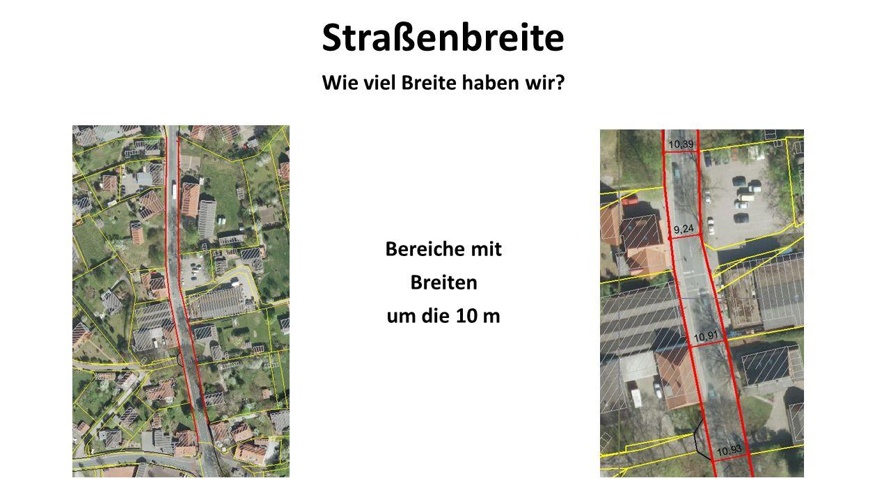 Straßenbreite Wie viel Breite haben wir Bereiche mit Breiten um die 10 m