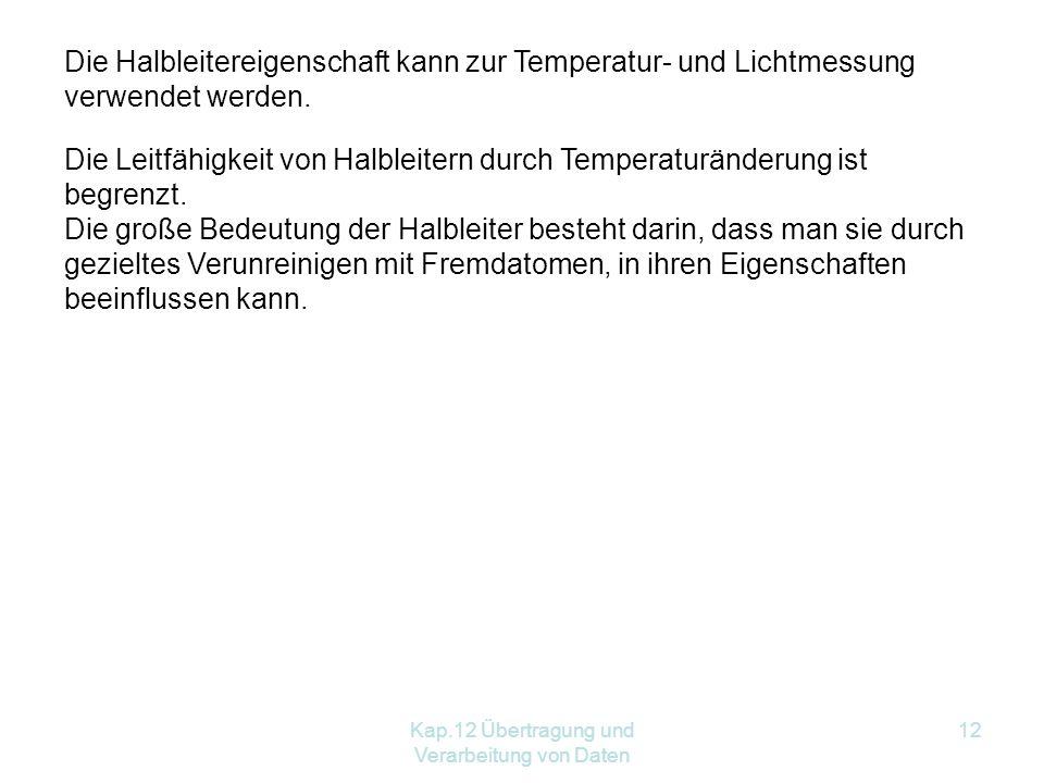 Kap.12 Übertragung und Verarbeitung von Daten 12 Die Halbleitereigenschaft kann zur Temperatur- und Lichtmessung verwendet werden.
