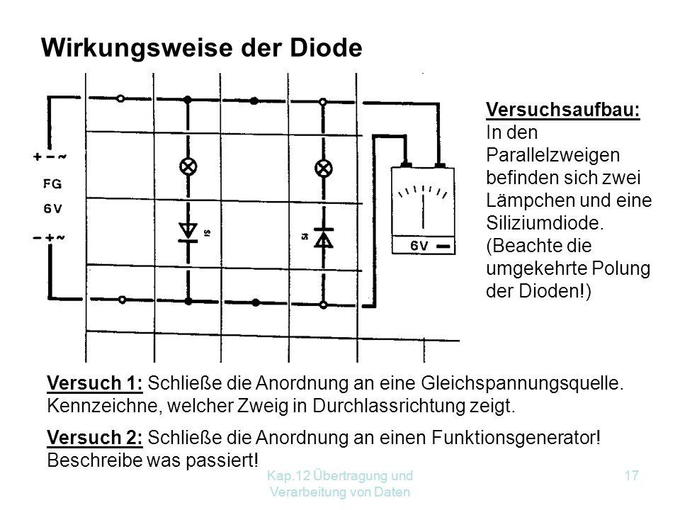 Kap.12 Übertragung und Verarbeitung von Daten 17 Wirkungsweise der Diode Versuchsaufbau: In den Parallelzweigen befinden sich zwei Lämpchen und eine Siliziumdiode.