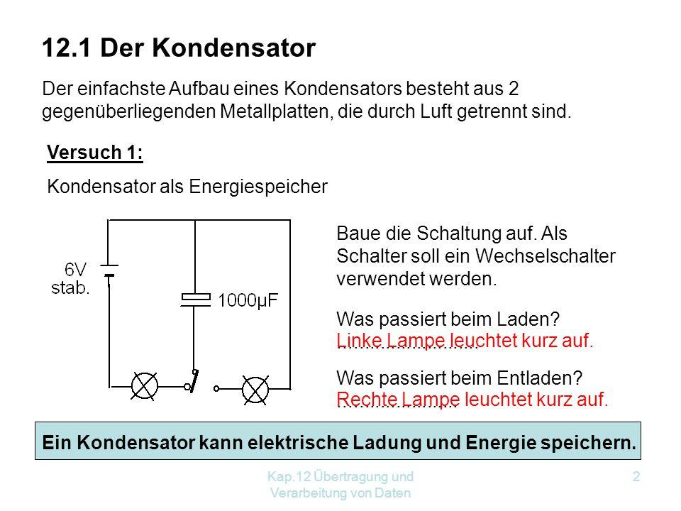 Kap.12 Übertragung und Verarbeitung von Daten 2 12.1 Der Kondensator Der einfachste Aufbau eines Kondensators besteht aus 2 gegenüberliegenden Metallplatten, die durch Luft getrennt sind.
