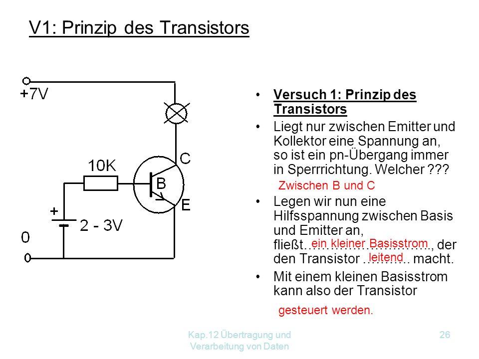 Kap.12 Übertragung und Verarbeitung von Daten 26 Versuch 1: Prinzip des Transistors Liegt nur zwischen Emitter und Kollektor eine Spannung an, so ist ein pn-Übergang immer in Sperrrichtung.