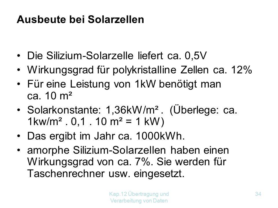 Kap.12 Übertragung und Verarbeitung von Daten 34 Ausbeute bei Solarzellen Die Silizium-Solarzelle liefert ca.
