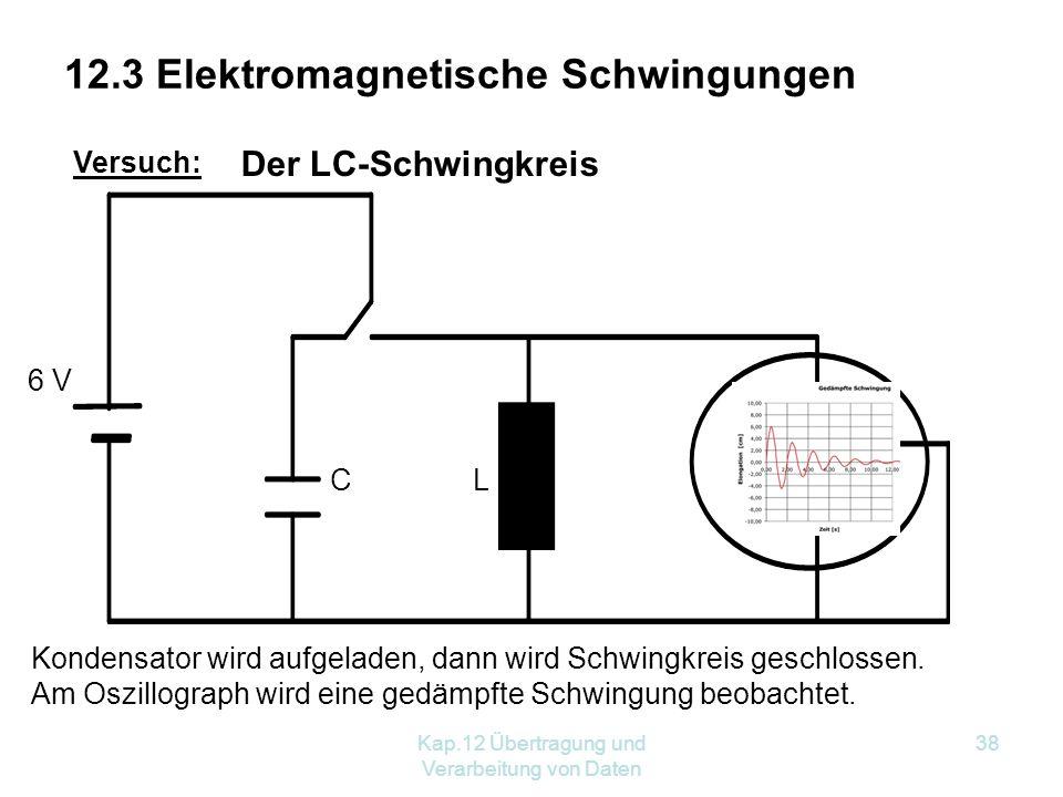 Kap.12 Übertragung und Verarbeitung von Daten 38 Versuch: 6 V Kondensator wird aufgeladen, dann wird Schwingkreis geschlossen.