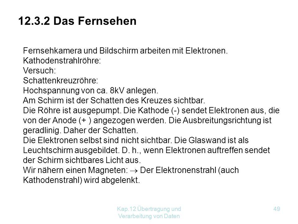 Kap.12 Übertragung und Verarbeitung von Daten 49 12.3.2 Das Fernsehen Fernsehkamera und Bildschirm arbeiten mit Elektronen.