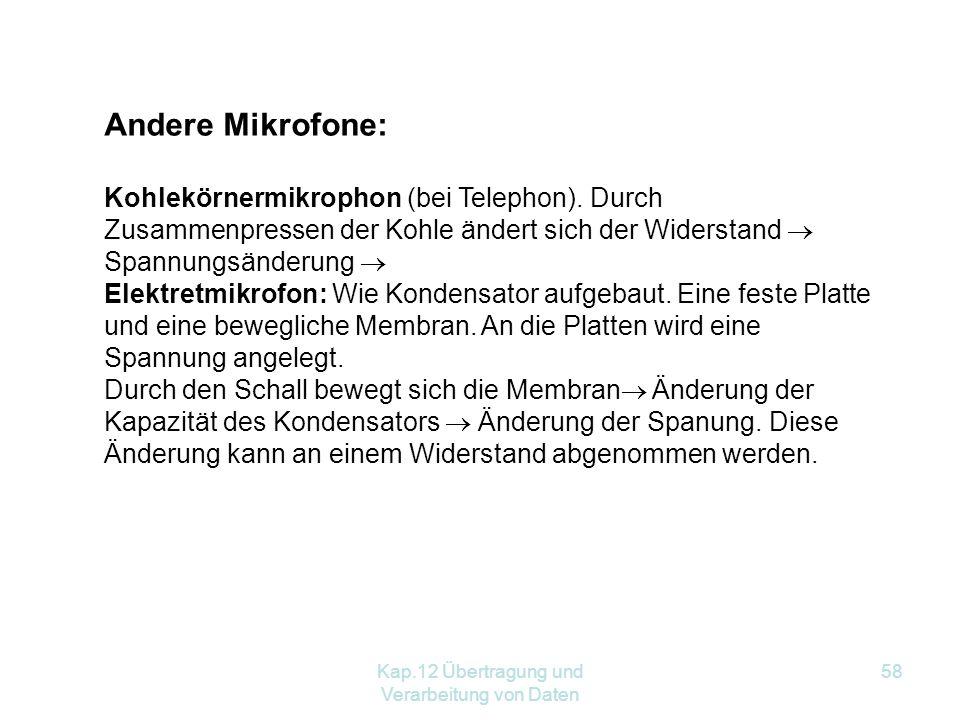Kap.12 Übertragung und Verarbeitung von Daten 58 Andere Mikrofone: Kohlekörnermikrophon (bei Telephon).