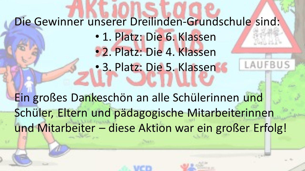 Die Gewinner unserer Dreilinden-Grundschule sind: 1. Platz: Die 6. Klassen 2. Platz: Die 4. Klassen 3. Platz: Die 5. Klassen Ein großes Dankeschön an