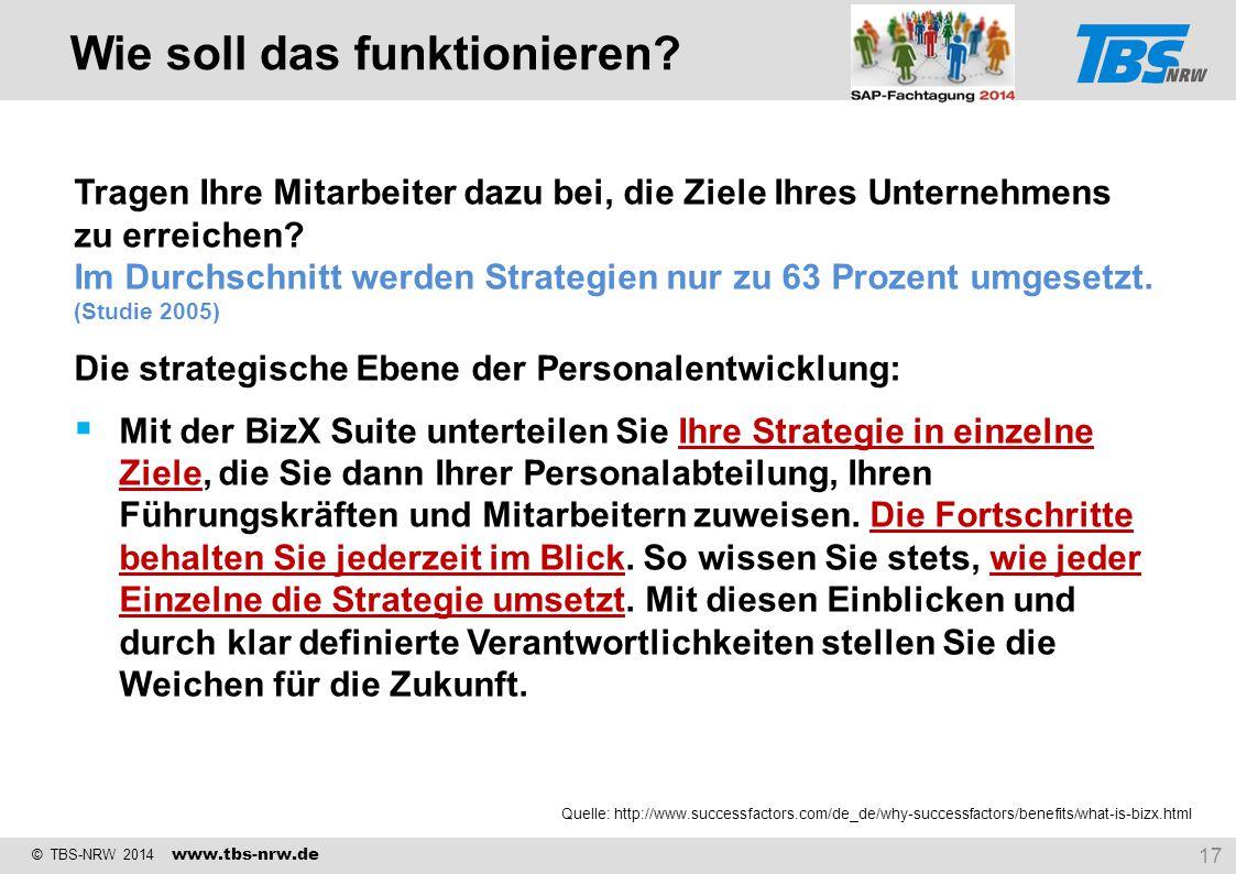 © TBS-NRW 2014 www.tbs-nrw.de Tragen Ihre Mitarbeiter dazu bei, die Ziele Ihres Unternehmens zu erreichen? Im Durchschnitt werden Strategien nur zu 63