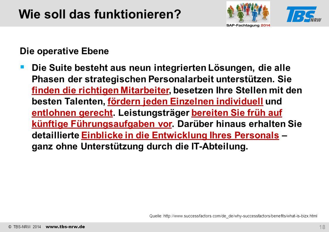 © TBS-NRW 2014 www.tbs-nrw.de Die operative Ebene  Die Suite besteht aus neun integrierten Lösungen, die alle Phasen der strategischen Personalarbeit
