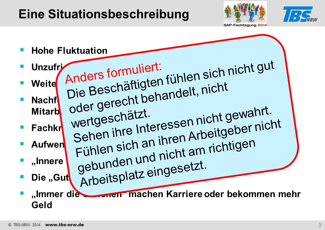 © TBS-NRW 2014 www.tbs-nrw.de  Hohe Fluktuation  Unzufriedenheit mit der Leistung der Führungskräfte  Weiterbildung nach dem Gießkannenprinzip  Na