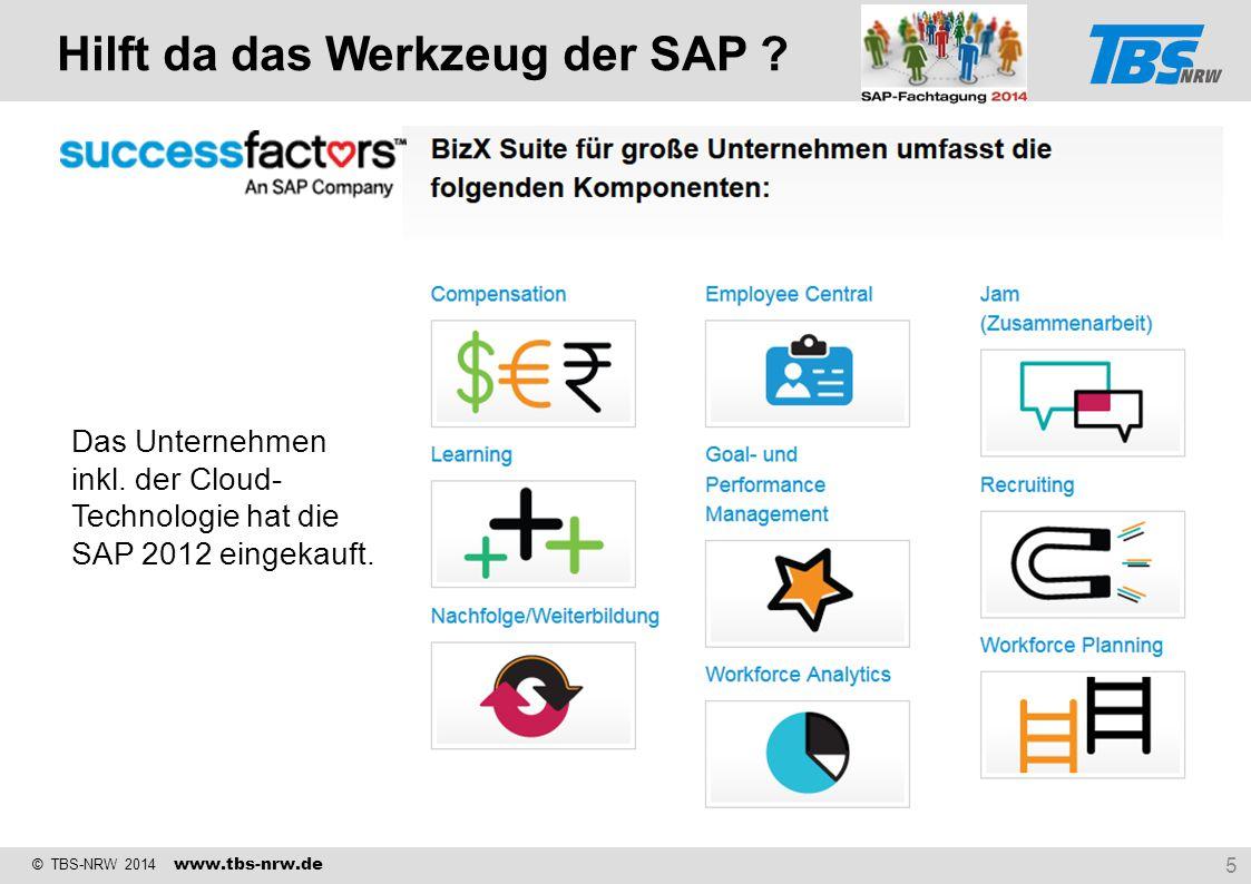 © TBS-NRW 2014 www.tbs-nrw.de Hilft da das Werkzeug der SAP ? 5 Das Unternehmen inkl. der Cloud- Technologie hat die SAP 2012 eingekauft.