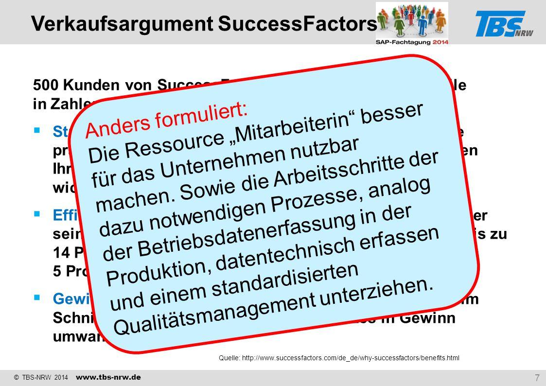 © TBS-NRW 2014 www.tbs-nrw.de 500 Kunden von SuccessFactors beschrieben ihre Vorteile in Zahlen:  Strategisch optimal ausrichten: Wenn Sie Ihre Proze