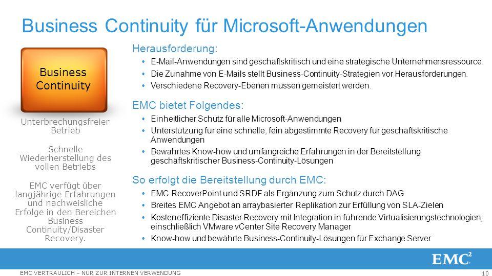 10 EMC VERTRAULICH – NUR ZUR INTERNEN VERWENDUNG Business Continuity für Microsoft-Anwendungen Herausforderung:  E-Mail-Anwendungen sind geschäftskri