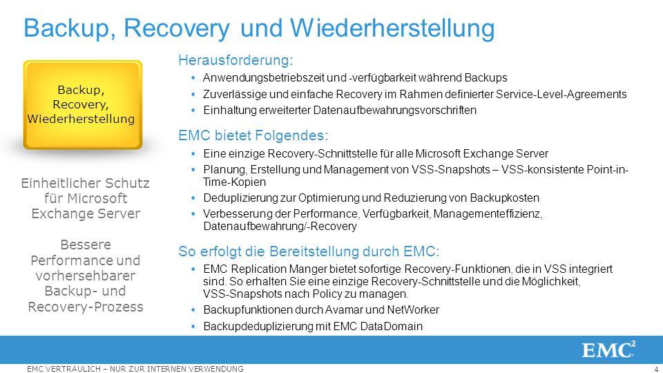 4 EMC VERTRAULICH – NUR ZUR INTERNEN VERWENDUNG Backup, Recovery und Wiederherstellung Herausforderung:  Anwendungsbetriebszeit und -verfügbarkeit wä
