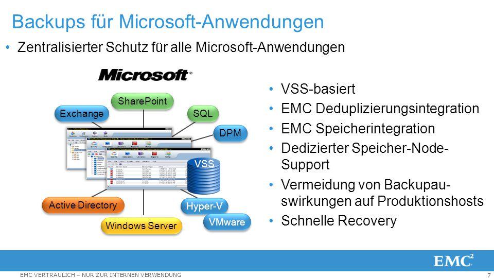 7 EMC VERTRAULICH – NUR ZUR INTERNEN VERWENDUNG Zentralisierter Schutz für alle Microsoft-Anwendungen Backups für Microsoft-Anwendungen VSS-basiert EM