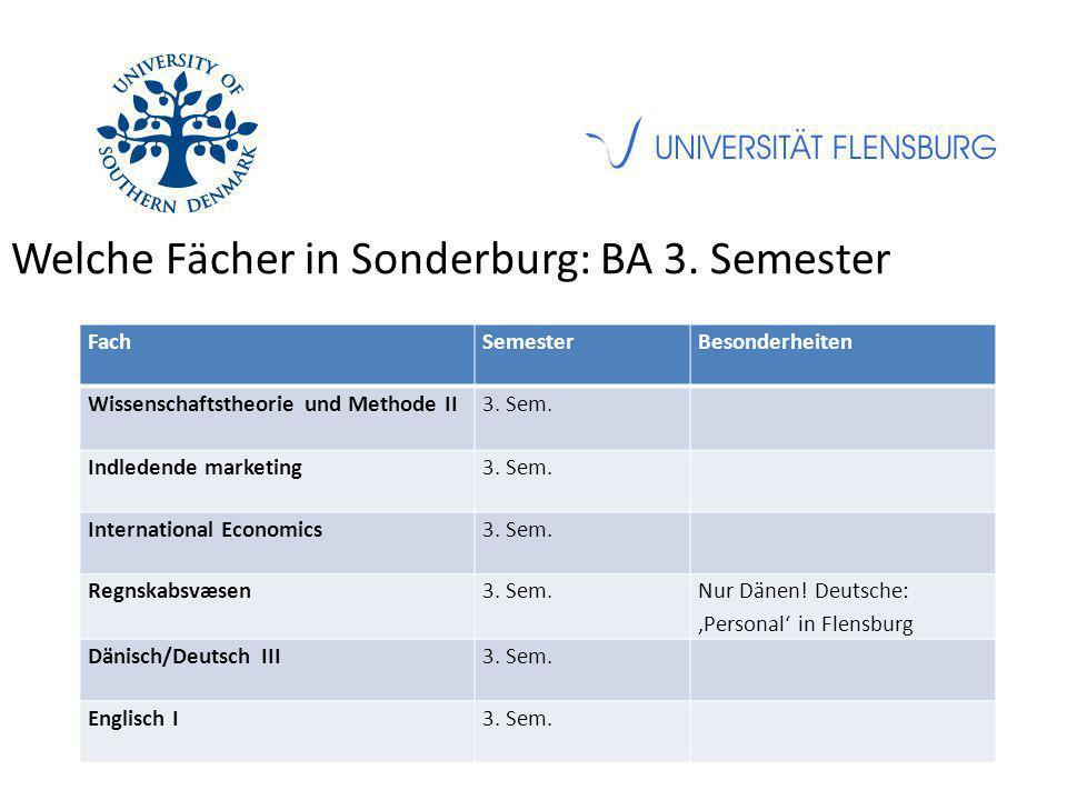 Welche Fächer in Sonderburg: BA 3. Semester FachSemesterBesonderheiten Wissenschaftstheorie und Methode II3. Sem. Indledende marketing3. Sem. Internat