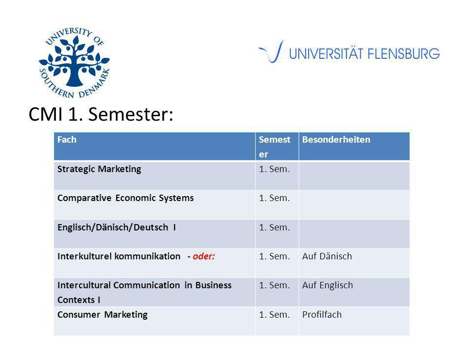 CMI 1. Semester: Fach Semest er Besonderheiten Strategic Marketing1. Sem. Comparative Economic Systems1. Sem. Englisch/Dänisch/Deutsch I1. Sem. Interk