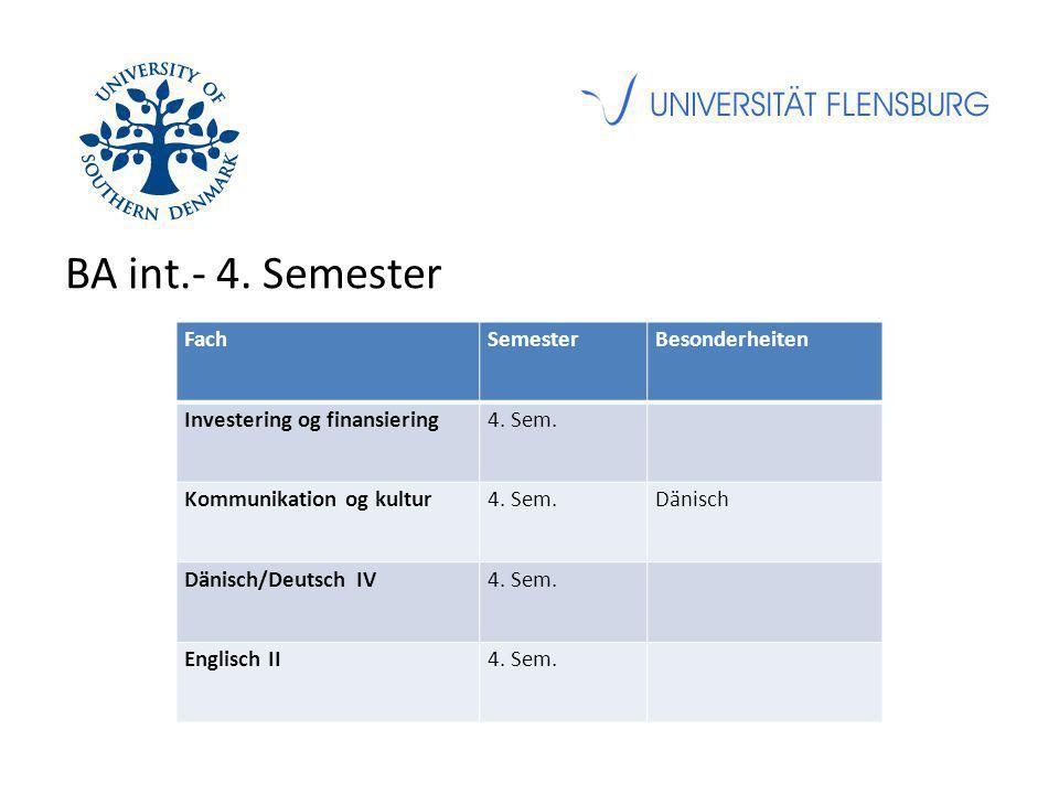 BA int.- 4. Semester FachSemesterBesonderheiten Investering og finansiering4.