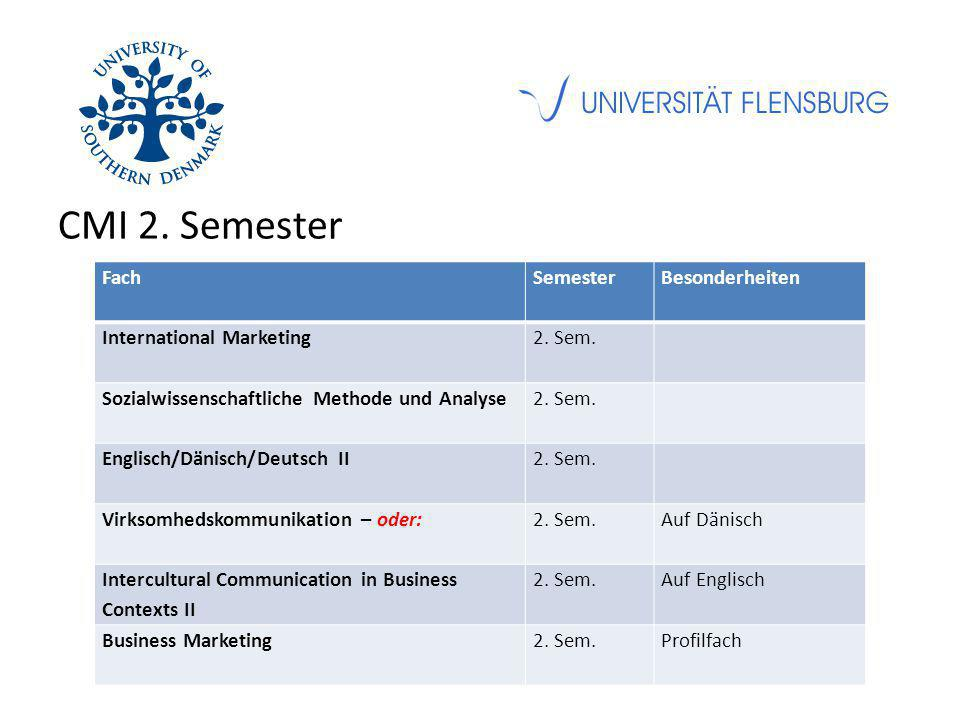 CMI 2. Semester FachSemesterBesonderheiten International Marketing2.