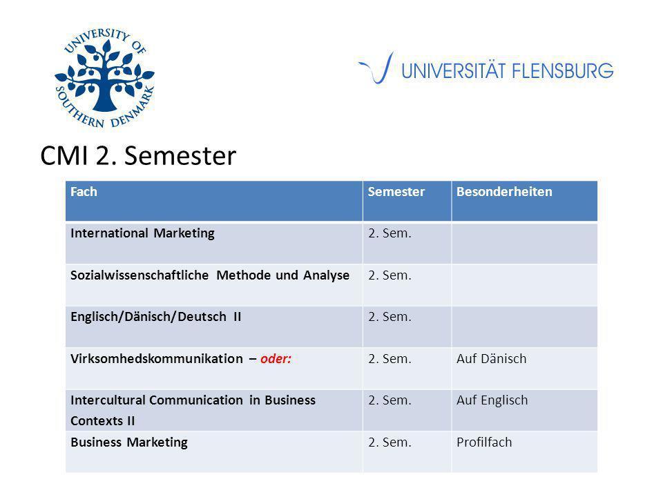 CMI 2. Semester FachSemesterBesonderheiten International Marketing2. Sem. Sozialwissenschaftliche Methode und Analyse2. Sem. Englisch/Dänisch/Deutsch