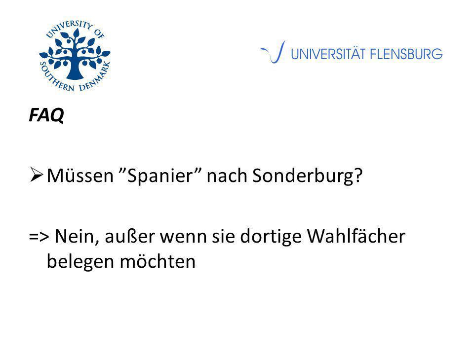 """FAQ  Müssen """"Spanier"""" nach Sonderburg? => Nein, außer wenn sie dortige Wahlfächer belegen möchten"""