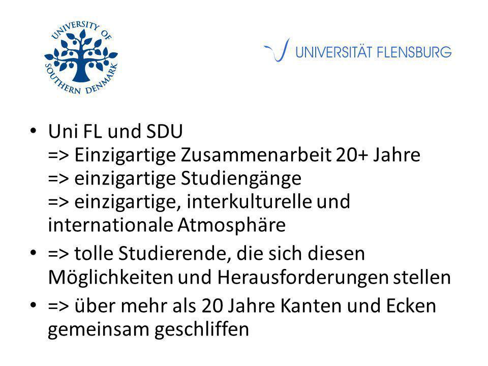 Uni FL und SDU => Einzigartige Zusammenarbeit 20+ Jahre => einzigartige Studiengänge => einzigartige, interkulturelle und internationale Atmosphäre => tolle Studierende, die sich diesen Möglichkeiten und Herausforderungen stellen => über mehr als 20 Jahre Kanten und Ecken gemeinsam geschliffen