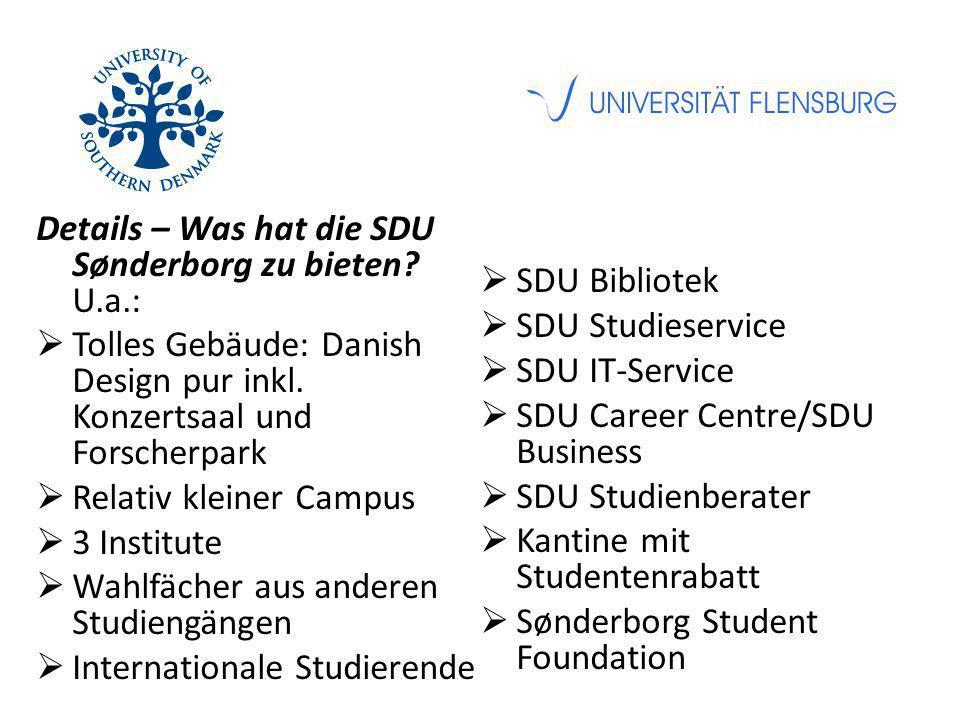 Details – Was hat die SDU Sønderborg zu bieten? U.a.:  Tolles Gebäude: Danish Design pur inkl. Konzertsaal und Forscherpark  Relativ kleiner Campus