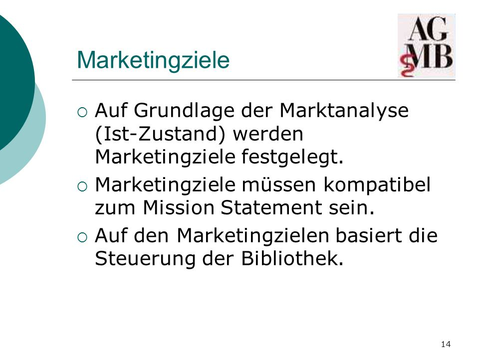 14 Marketingziele  Auf Grundlage der Marktanalyse (Ist-Zustand) werden Marketingziele festgelegt.