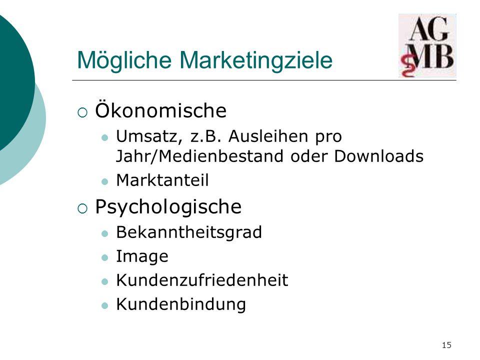 15 Mögliche Marketingziele  Ökonomische Umsatz, z.B.