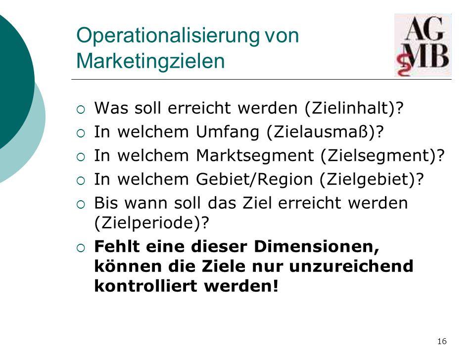 16 Operationalisierung von Marketingzielen  Was soll erreicht werden (Zielinhalt).